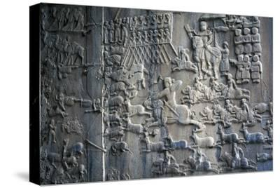 Bas-Reliefs with Scenes of Deer and Wild Boar Hunting in Caves of Taq-E Bustan, Iran--Stretched Canvas Print