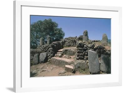 France, Corsica, Filitosa Prehistoric Archaeological Site, Anthropomorphic Menhir Statue--Framed Giclee Print