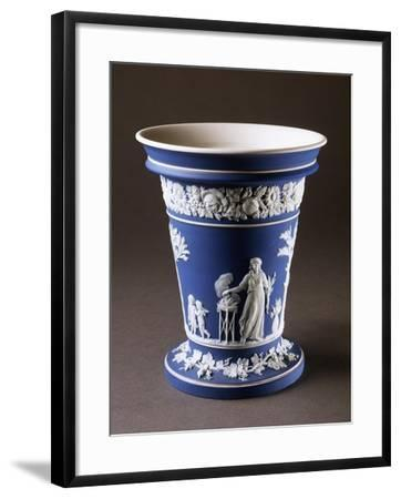 Vase, Circa 1780, Blue and White Stoneware, Wedgwood Manufacture, Staffordshire, England--Framed Giclee Print