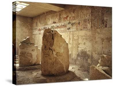 Egypt, Ancient Thebes, Luxor, Valley of Nobles, Tomb of Ramose Depicting Funeral Procession--Stretched Canvas Print