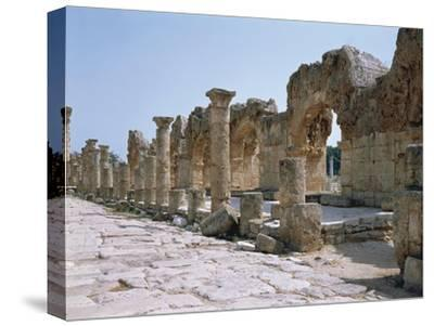 Lebanon, Tyre, Ruins of Old City of Tyre, Roman Street with Portico--Stretched Canvas Print