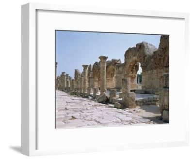 Lebanon, Tyre, Ruins of Old City of Tyre, Roman Street with Portico--Framed Giclee Print