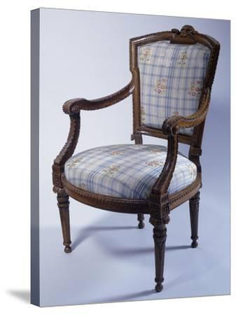 Louis XVI Style Carved Wood Genoese Armchair, Italy--Stretched Canvas Print