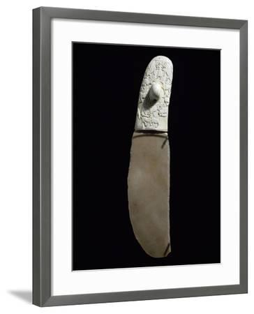 Dagger Decorated with War and Hunting Scenes, Flint Blade, Elephant Ivory Handle--Framed Giclee Print