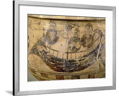 Krater by Aristonothos, Detail: Ship--Framed Giclee Print