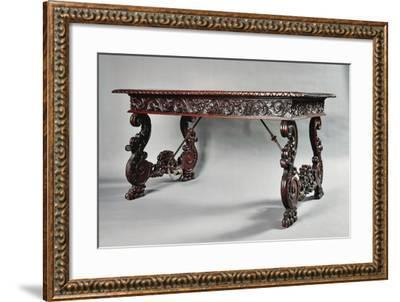Carved Walnut Genoese Table with Lyre-Shaped Legs, Italy--Framed Giclee Print
