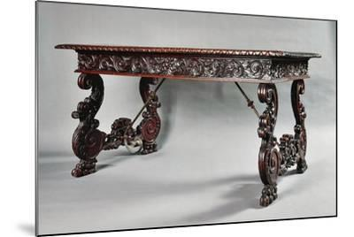 Carved Walnut Genoese Table with Lyre-Shaped Legs, Italy--Mounted Giclee Print