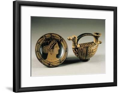 Bowl Depicting a Woman's Head and Vase in the Shape of a Duck--Framed Giclee Print