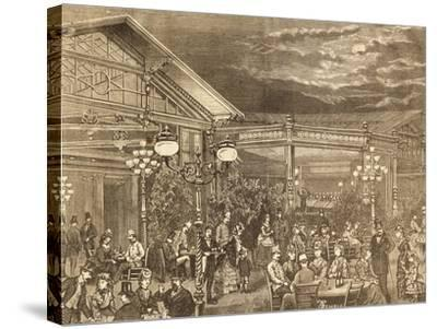 Concert at Volksgarten in Vienna, Austria19th Century Engraving--Stretched Canvas Print