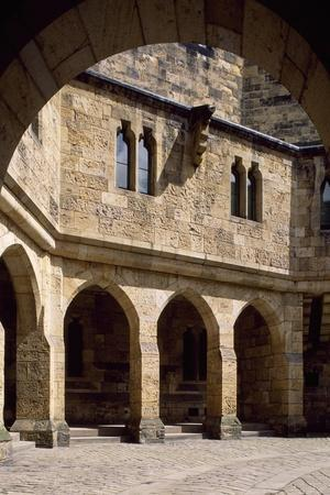 View of Alnwick Castle Courtyard, Northumberland, England--Stretched Canvas Print