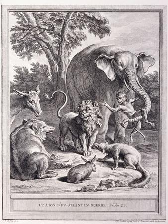 Le Lion S'En Allant En Guerre, C.1755-1759-Jean-Baptiste Oudry-Framed Giclee Print