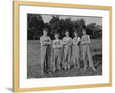 Winning Push Ball Team at a Company Picnic, 1919--Framed Photographic Print