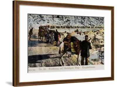Mule Train on a Mountain Road--Framed Photographic Print