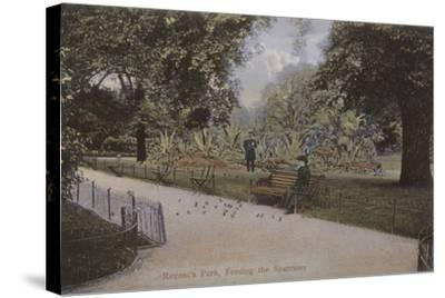 Regent's Park, Feeding the Sparrows--Stretched Canvas Print