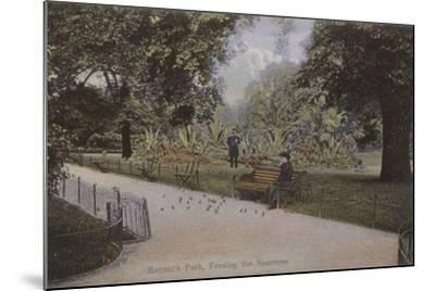 Regent's Park, Feeding the Sparrows--Mounted Photographic Print