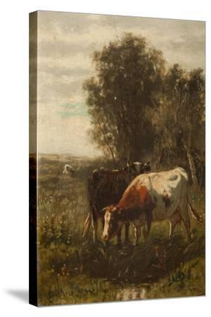 Two Cows in a Landscape-William Frederick Hulk-Stretched Canvas Print