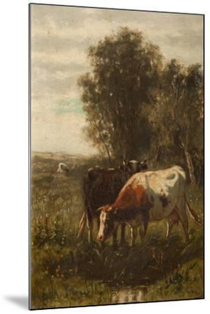 Two Cows in a Landscape-William Frederick Hulk-Mounted Giclee Print