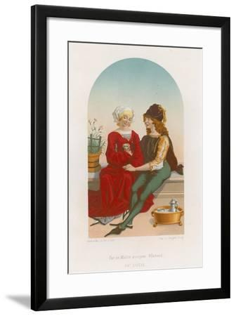 A Man and Woman Sitting Together--Framed Giclee Print