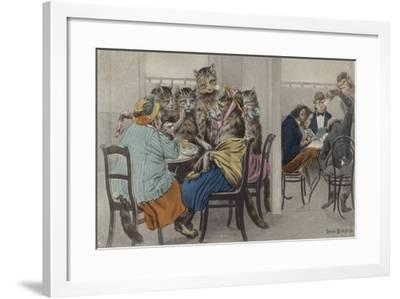 Cats Drinking Tea and Monkeys Playing Cards--Framed Giclee Print