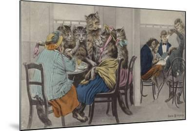 Cats Drinking Tea and Monkeys Playing Cards--Mounted Giclee Print