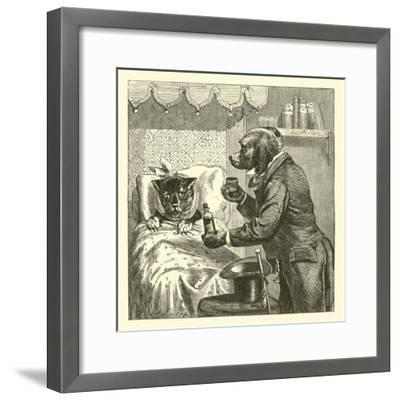 Dog Giving Pills to Sick Cat--Framed Giclee Print