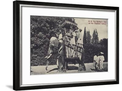 The Holkar's Son on the Elephant in Indore--Framed Photographic Print