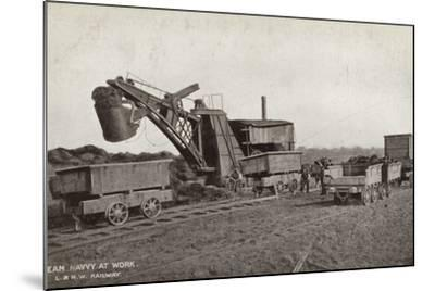 Steam Navvy at Work--Mounted Photographic Print