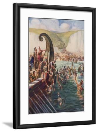 The Landing of the Romans in Britain, 54 Bc-Joseph Ratcliffe Skelton-Framed Giclee Print