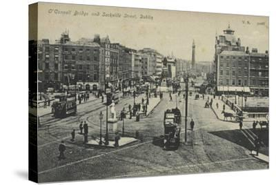 O'Connell Bridge and Sackville Street, Dublin--Stretched Canvas Print