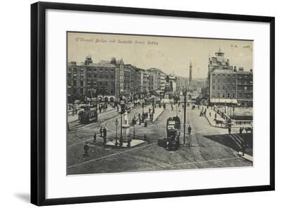O'Connell Bridge and Sackville Street, Dublin--Framed Photographic Print
