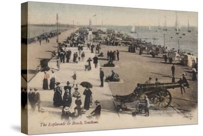 The Esplanade and Beach, Southsea--Stretched Canvas Print