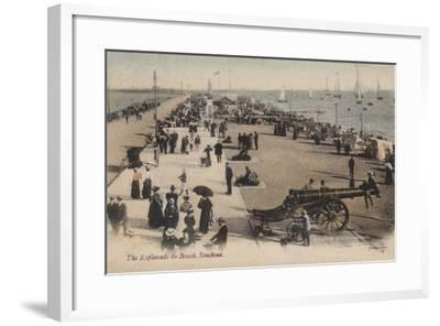 The Esplanade and Beach, Southsea--Framed Photographic Print