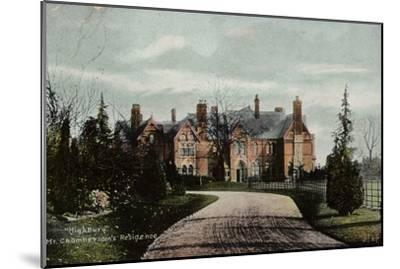 Highbury, Mr Chamberlain's Residence--Mounted Photographic Print