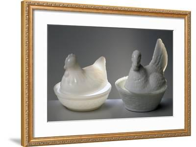 Containers in Shape of Chickens, 1860, Opaline Glass--Framed Giclee Print