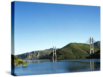 Spain, Castile and Leon, Barrios De Luna Reservoir and Cable-Stayed Bridge--Stretched Canvas Print