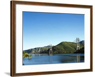 Spain, Castile and Leon, Barrios De Luna Reservoir and Cable-Stayed Bridge--Framed Giclee Print