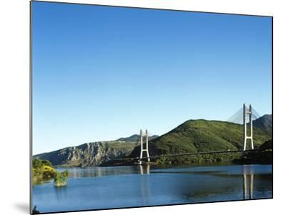 Spain, Castile and Leon, Barrios De Luna Reservoir and Cable-Stayed Bridge--Mounted Giclee Print