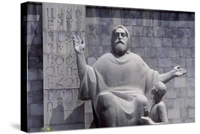 Armenia, Erewan, Statue of Mesrop Mashtots in Mesrop Mashtots Institute of Ancient Manuscripts--Stretched Canvas Print