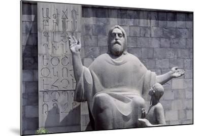 Armenia, Erewan, Statue of Mesrop Mashtots in Mesrop Mashtots Institute of Ancient Manuscripts--Mounted Giclee Print