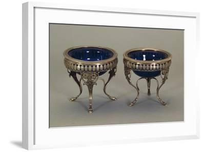 Silver, Round Saltcellars with Punch Mark of the Goldsmith PC, 1810--Framed Giclee Print