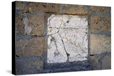 Bas-Relief in Walls of Cathedral in Civita Di Bagnoregio, Lazio, Italy--Stretched Canvas Print