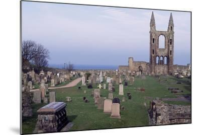 View of Ruins of St. Andrews Cathedral with Tower of St. Rule, Fife, Scotland, 12th-15th Century--Mounted Giclee Print