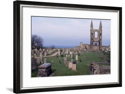 View of Ruins of St. Andrews Cathedral with Tower of St. Rule, Fife, Scotland, 12th-15th Century--Framed Giclee Print