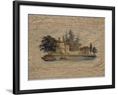 Lacustral Landscape, Embroidered in Small Stitch on Linen, Probably Inspired to Watercolor Painting--Framed Giclee Print