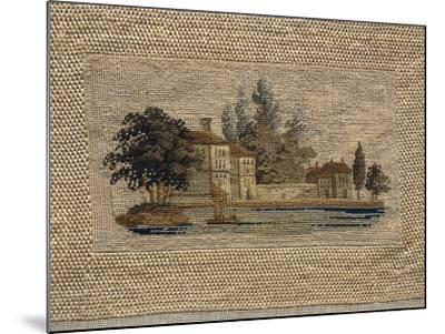 Lacustral Landscape, Embroidered in Small Stitch on Linen, Probably Inspired to Watercolor Painting--Mounted Giclee Print