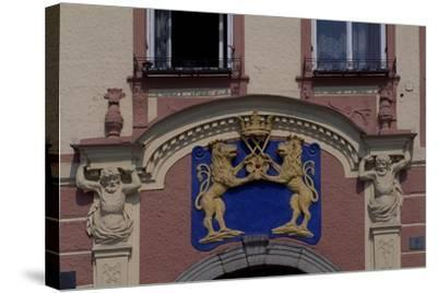Facade of Jindrichuv Hradec's Old Town Hall, Bohemia, Detail, Czech Republic--Stretched Canvas Print