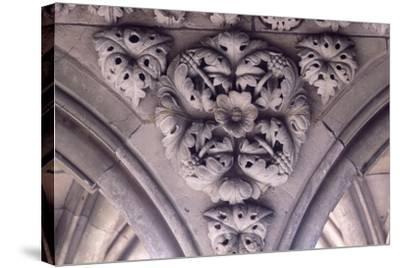 Relief Decoration from Arches of Cloister of Marvel, Abbey of Mont St Michel, Normandy, France--Stretched Canvas Print