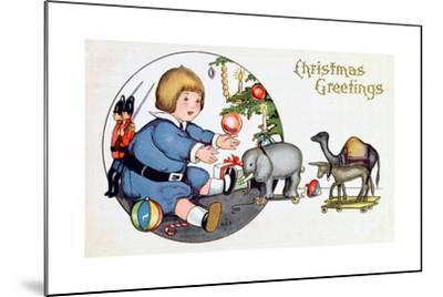 By the Christmas Tree with Toys, Victorian Christmas Postcard--Mounted Giclee Print