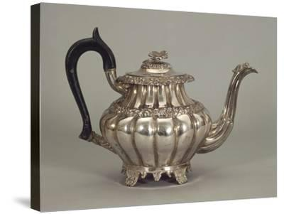 Silver Neapolitan Teapot with Panel Shaped Stands--Stretched Canvas Print
