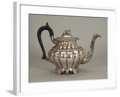 Silver Neapolitan Teapot with Panel Shaped Stands--Framed Giclee Print